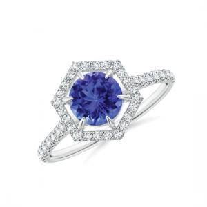 Кольцо с танзанитом в шестиугольнике из бриллиантов