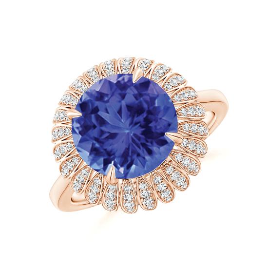 Кольцо с танзанитом и бриллиантами Цветок, Больше Изображение 1