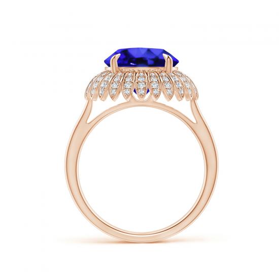 Кольцо с танзанитом и бриллиантами Цветок,  Больше Изображение 2