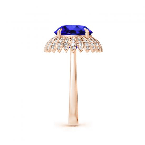 Кольцо с танзанитом и бриллиантами Цветок,  Больше Изображение 3