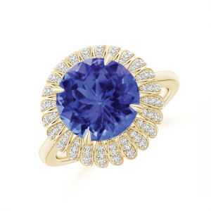 Кольцо из золота с танзанитом и бриллиантами Цветок