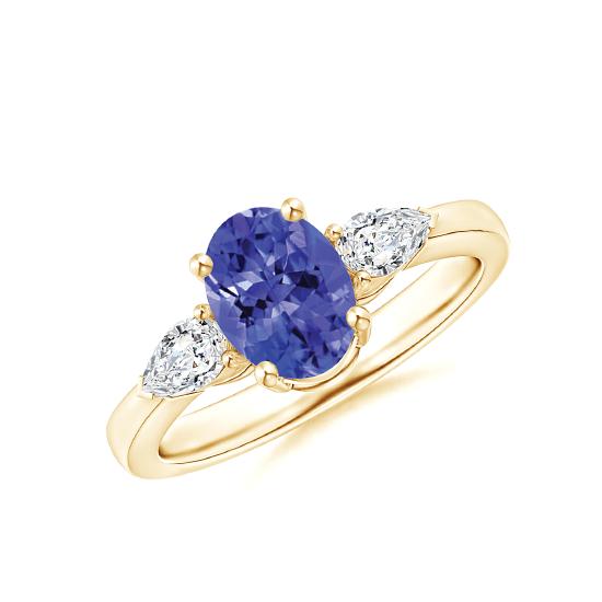 Кольцо с танзанитом 8x6 мм и бриллиантами, Больше Изображение 1