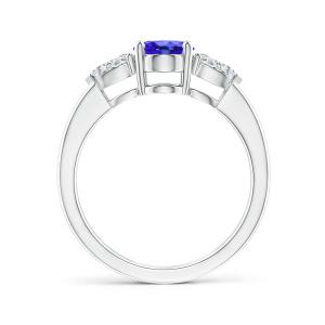 Кольцо с овальным танзанитом и бриллиантами груша