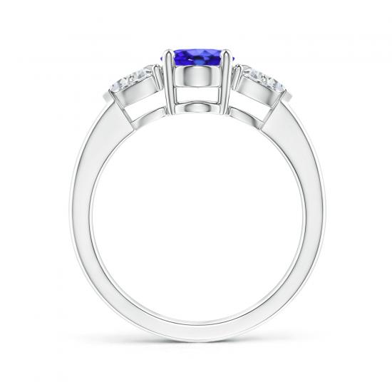 Кольцо с овальным танзанитом и бриллиантами,  Больше Изображение 2