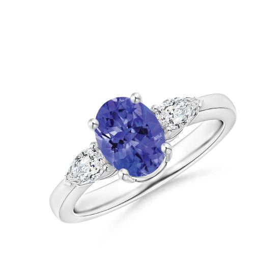 Кольцо с овальным танзанитом и бриллиантами, Больше Изображение 1