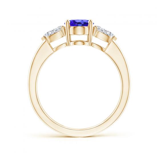 Кольцо с танзанитом 8x6 мм и бриллиантами,  Больше Изображение 2