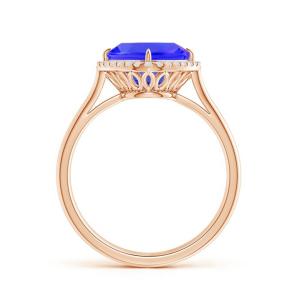 Кольцо с танзанитом кушон 8 мм в бриллиантовом ореоле