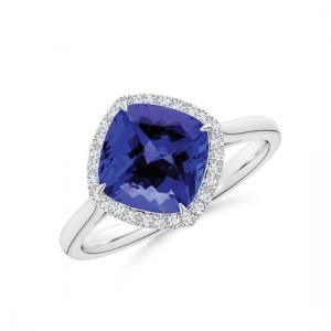 Кольцо с танзанитом кушон в бриллиантовом паве