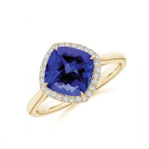 Кольцо с танзанитом кушон в бриллиантовом ореоле