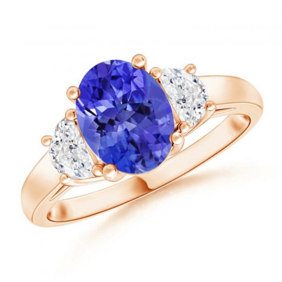 Кольцо с овальным танзанитом и двумя бриллиантами, Больше Изображение 1