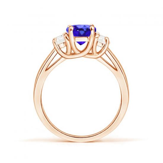 Кольцо с овальным танзанитом и двумя бриллиантами,  Больше Изображение 2