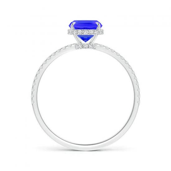 Кольцо с танзанитом кушон с бриллиантовой дорожкой,  Больше Изображение 2