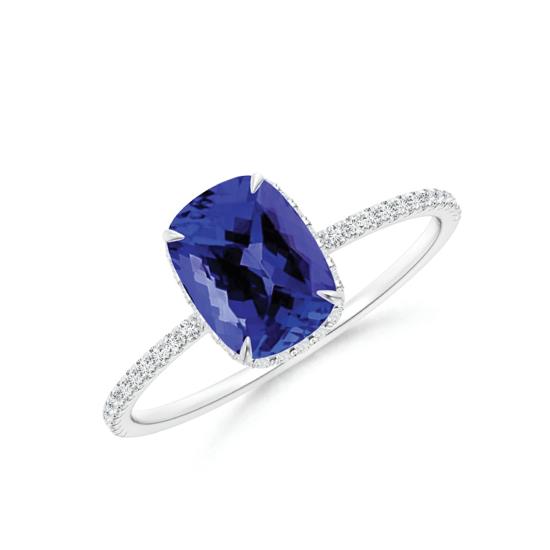 Кольцо с танзанитом кушон с бриллиантовой дорожкой, Больше Изображение 1