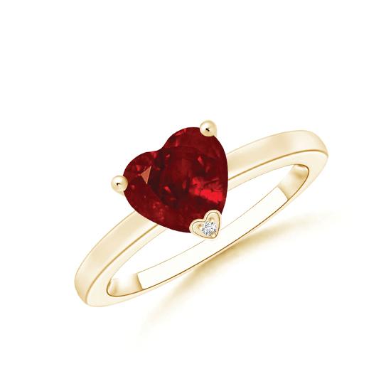 Кольцо с рубином сердце и бриллиантом, Больше Изображение 1