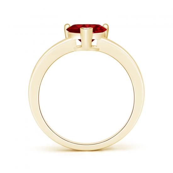 Кольцо с рубином сердце и бриллиантом,  Больше Изображение 2
