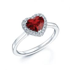 Кольцо с рубином сердце в бриллиантовом паве