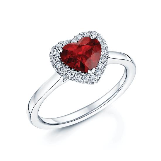Кольцо с рубином сердце в бриллиантовом паве, Больше Изображение 1