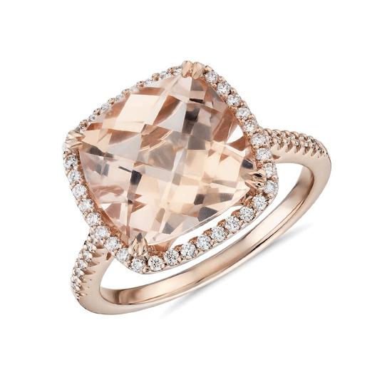 Кольцо с морганитом кушон в паве из бриллиантов, Больше Изображение 1