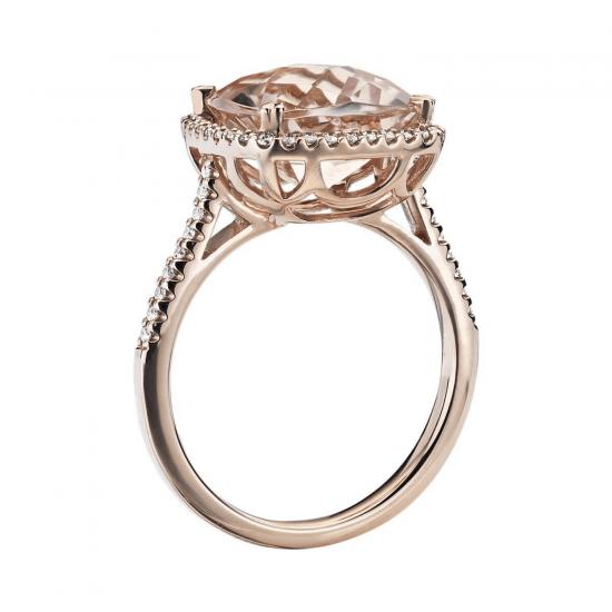 Кольцо с морганитом кушон в паве из бриллиантов,  Больше Изображение 2