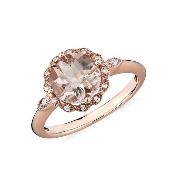 Кольцо с круглым морганитом в окружении бриллиантов, Больше Изображение 1
