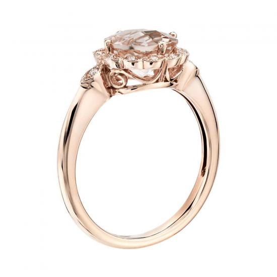Кольцо с круглым морганитом в окружении бриллиантов,  Больше Изображение 2
