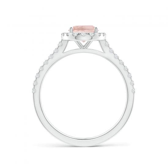Кольцо с морганитом в окружении бриллиантов,  Больше Изображение 4