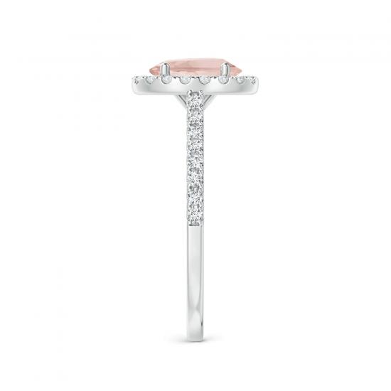 Кольцо с морганитом в окружении бриллиантов,  Больше Изображение 2
