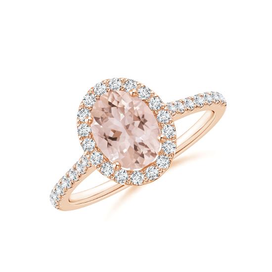 Кольцо с овальным морганитом в окружении бриллиантов, Больше Изображение 1