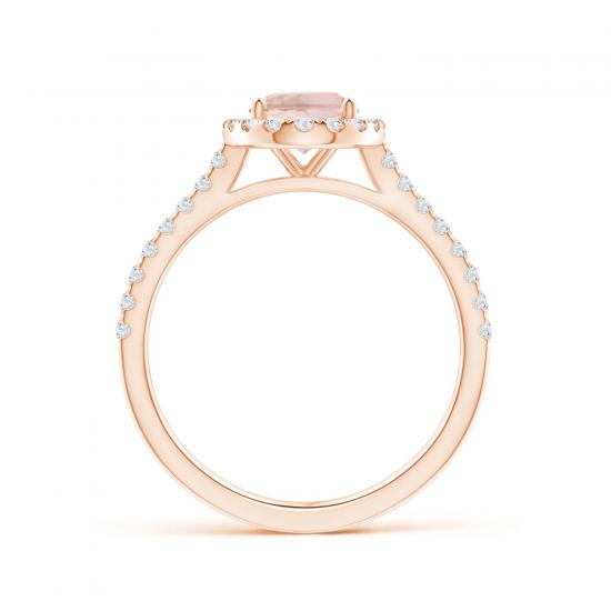 Кольцо с овальным морганитом в окружении бриллиантов,  Больше Изображение 2