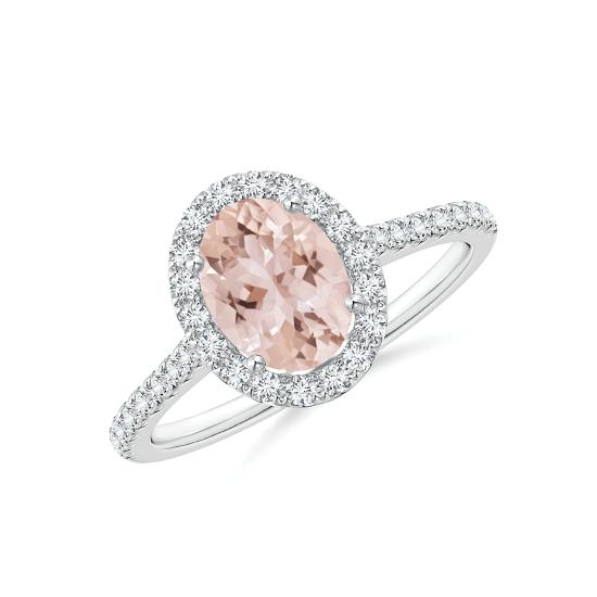 Кольцо с морганитом в окружении бриллиантов, Больше Изображение 1