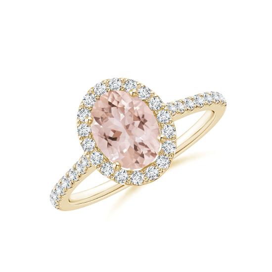 Кольцо золотое морганитом в окружении бриллиантов, Больше Изображение 1