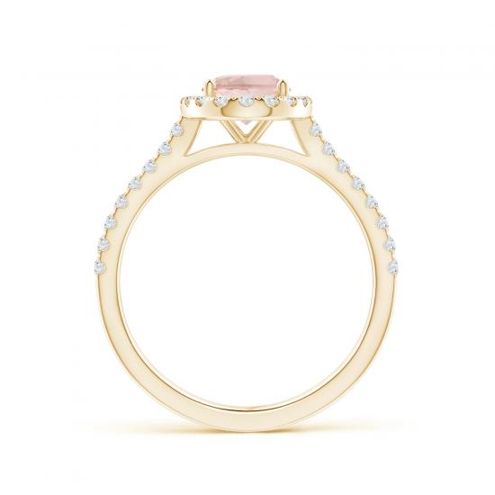 Кольцо золотое морганитом в окружении бриллиантов,  Больше Изображение 2