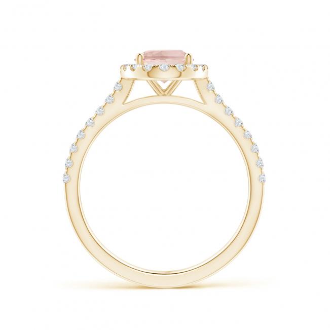 Кольцо золотое морганитом в окружении бриллиантов - Фото 1