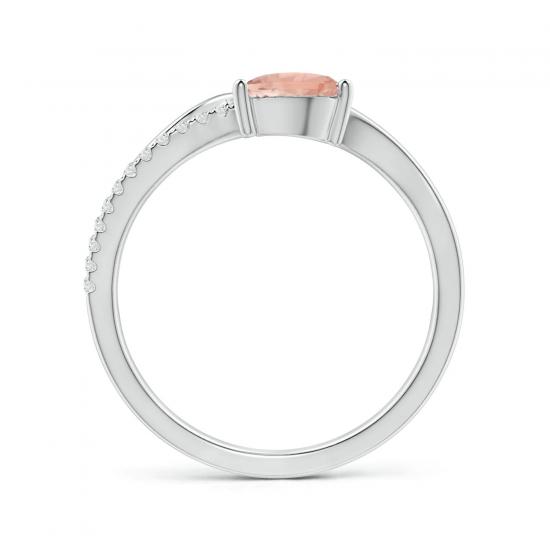 Кольцо с морганитом капля и бриллиантовой дорожкой,  Больше Изображение 2