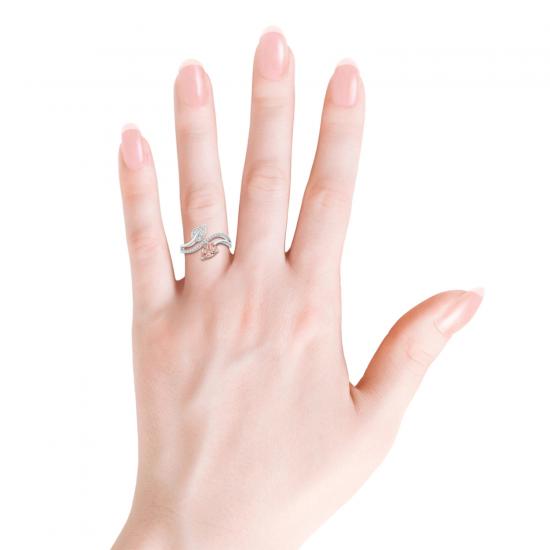 Кольцо с морганитом капля и бриллиантовой дорожкой,  Больше Изображение 4
