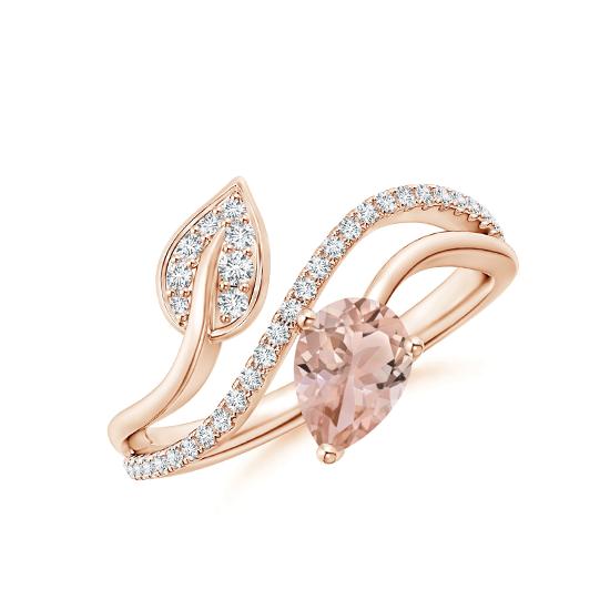 Кольцо с морганитом капля и бриллиантами, Больше Изображение 1