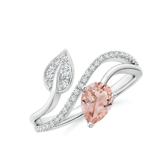Кольцо с морганитом капля и бриллиантовой дорожкой, Больше Изображение 1