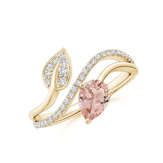 Кольцо золотое с морганитом капля и бриллиантами, Больше Изображение 1