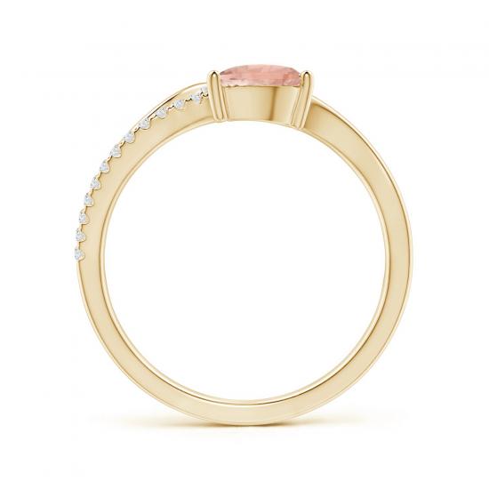 Кольцо золотое с морганитом капля и бриллиантами,  Больше Изображение 2