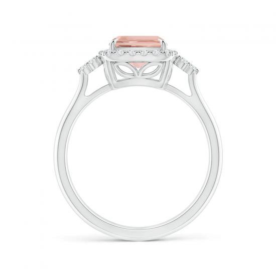 Кольцо с морганитом Кушон в бриллиантовом паве,  Больше Изображение 2