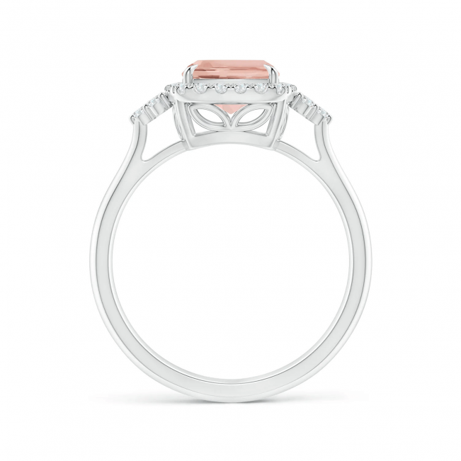 Кольцо с морганитом Кушон в бриллиантовом паве - Фото 1