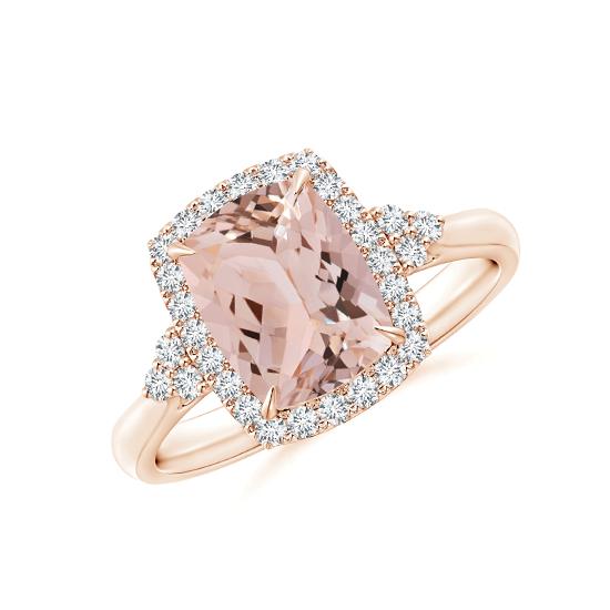 Кольцо с морганитом кушон в бриллиантовом ореоле, Больше Изображение 1