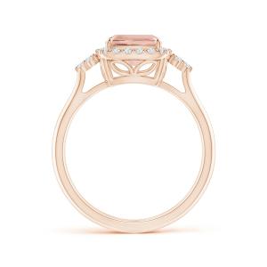 Кольцо с морганитом кушон в бриллиантовом ореоле - Фото 1
