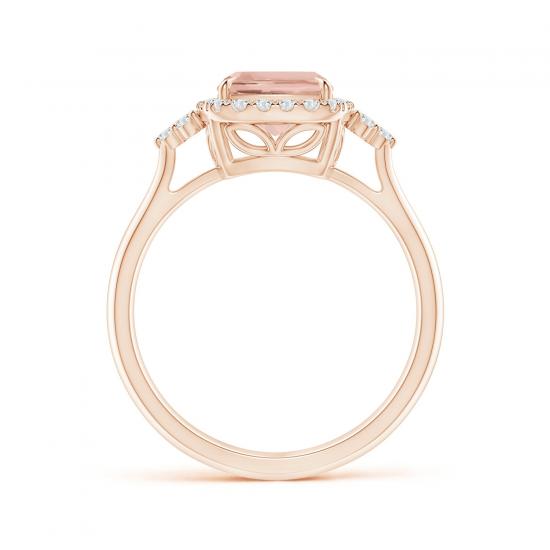 Кольцо с морганитом кушон в бриллиантовом ореоле,  Больше Изображение 2