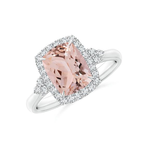 Кольцо с морганитом Кушон в бриллиантовом паве, Больше Изображение 1