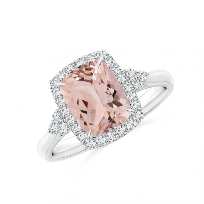 Кольцо с морганитом Кушон в бриллиантовом паве