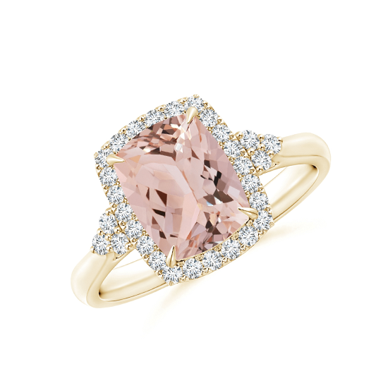Кольцо золотое с морганитом кушон в бриллиантовом ореоле, Больше Изображение 1