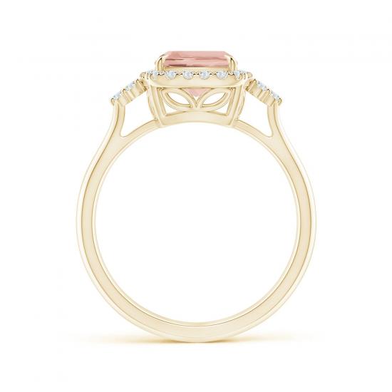 Кольцо золотое с морганитом кушон в бриллиантовом ореоле,  Больше Изображение 2