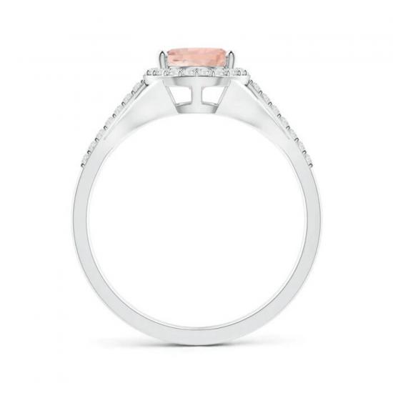 Кольцо с морганитом Груша в бриллиантовом ореоле,  Больше Изображение 2