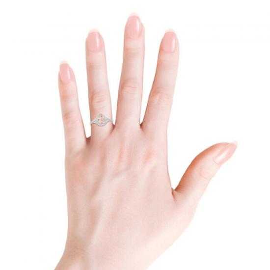 Кольцо золотое с морганитом капля в бриллиантовом ореоле,  Больше Изображение 3